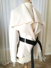 Bebe Shawl Collar Wool Jacket Coat Gorgeous Stylish White/ Black Size XS