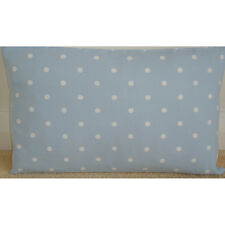 "20""x12"" Oblong Bolster Cushion Cover Baby Blue and White Polka Dot Nursery Dots"