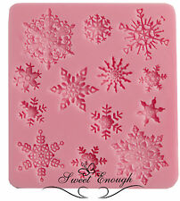 Snow Flake Winter Lace Silicone mould Sugercraft Christmas Cup Cake Fondant