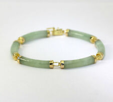 "Jade bracelet 14K yellow gold apple green curve bar link 7.25"" Chinese long life"