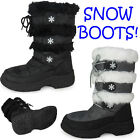WOMENS LADIES MOON WARM FUR THICK WATERPROOF SOLE WINTER SNOW BOOTS SHOES SIZE