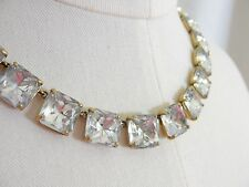 J.CREW Square Crystal Statement Necklace Gold Brass Jewelry Sparkle Wedding