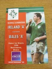 01/03/1996 Rugby Union: Ireland A v Wales A [In Donnybrook Dublin] Official Prog