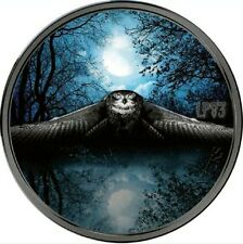 2017 3 Oz Silver NIGHT HUNTER OWL Coin With Platinum  2000 Francs Ivory Coast,