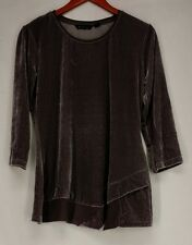 H by Halston Top XS 3/4 Sleeve Velvet Chiffon Trim Grey NEW NWOT