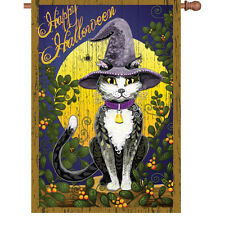 "Happy Halloween Cat Spider Moon House Flag Large 40"" x 28"""