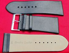 34mm BLACK Smooth Leather Watch Strap Band, Chrome Buckle