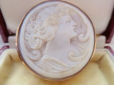 ANTIQUE VICTORIAN SHELL CAMEO SET IN 9CT FRAME - VERY PRETTY C.1870