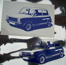 CLASSIC MINI CLUBMAN 1275 GT SELF ADHESIVE VINYL STICKERS, 2 BLUE ON CLEAR VINYL