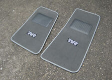 Mid Grey SUPER VELOUR Car Mats w/ Silver Trim - TVR Chimaera RHD + TVR Logos