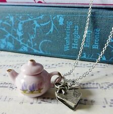 KiTsCh ViNtAgE aLiCe PINK PURPLE FLOWER CHINA TEAPOT SILVER TEA CHARM NECKLACE