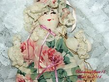 Arturo E.Reyna FOLK ART 1990's VICTORIAN RAG DOLL ROSES DRESS HAT ORIGINAL
