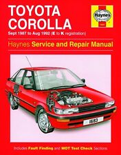 Haynes Owners Workshop Manual Toyota Corolla Petrol (87-92) SERVICE REPAIR