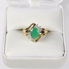 Oval Faceted Emerald Gemstone & Diamond Accent 10k Gold Ring Size 6