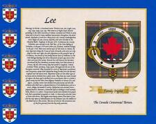 "CANADIAN  TARTAN & SURNAME HISTORY PRINT 10"" x 8"" & FREE GIFT New designs"