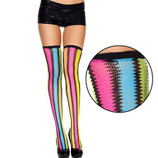 Opaque Vertical Neon Rainbow Black Zig Zag Striped Thigh Highs Hi Stockings Rave