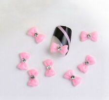 Pink 20pcs Acrylic 3D Bow Tie Nail Art DIY Tips Deco Rhinestone Stickers Fashion