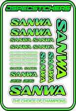 SANWA RC RADIO CONTROL STICKERS MT4 M12 SERVO RX TX CAR BUGGY HOBBY TEAL GREEN B