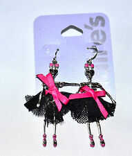 CLAIRE'S  KITSCH FUN  BALLET SKELETON JOINTED MOVABLE TUTU DROP EARRINGS