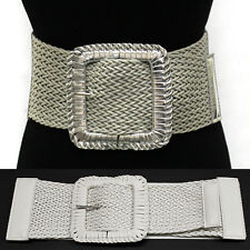 Braided Knit Twist Wide Large Cinch Elastic Stretch High Waist Belt Black XS~XL