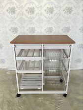 White Wooden MDF & Bamboo Kitchen Trolley Island Dining Cart Worktop Basket