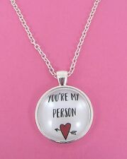Valentines Day You're My Person Heart Silver Glass Necklace New Gift Bag
