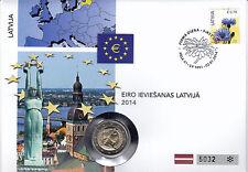 Lettland 2014 Numisbrief 2 Euro Euroeinführung