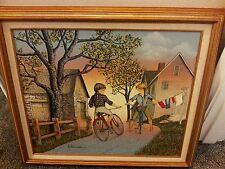 H. Hargrove 29x25 Framed Oil BOY & GIRL ON BICYCLE FALL DAY. SIGNED