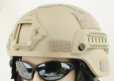 AIRSOFT MICH HELMET WITH RAILS TACTICAL TAN SAND DE FIBREGLASS UK