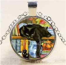 Black Cat In Bookshelf Cabochon Glass Tibet Silver Chain Pendant  Necklace
