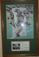 GREEN BAY PACKER BRETT FAVRE 4 AUTOGRAPHED THE DIVE COUNTY STADIUM FRAMED LITHO