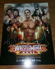 HBK Shawn Michaels Batista John Cena Triple H Mania 26 signed poster  WWF WWE