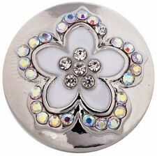 Opal Clear Rhinestone White Flower 20mm Snap Charm For Ginger Snaps Jewelry