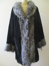 ADRIENNE LANDAU BLACK & GRAY LONG SLEEVE FAUX FUR COAT SIZE L - NWT