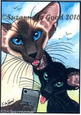 ACEO SIAMESE AND ORIENTAL CAT PRINT FROM ORIGINAL PAINTING BY SUZANNE LE GOOD