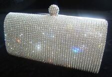 New Silver Diamante Diamond Crystal Evening bag Clutch Purse Party Prom Wedding.