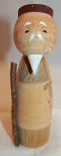 Japanese Traditional  Wooden Kokeshi Doll Signed Sennin Man Movable Cane  AS-IS