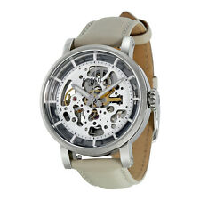 Fossil Boyfriend Automatic Skeleton Dial Beige Leather Ladies Watch ME3069