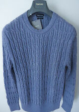 $1200 NWT TOM FORD Cashmere Blend Cable Knit Crewneck Sweater Size Large