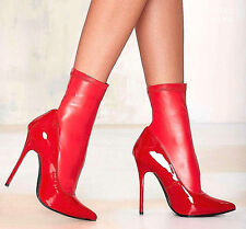 NEW NIB $128 RED PATENT LEATHER STRETCH ANKLE BOOT BOOTIE PUMPS 5 35 VERY RARE