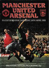 1983 FA Cup Semi-Final Programme MAN UTD v ARSENAL Apr 1983 @Villa Park