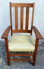 Antique SIGNED LIMBERT Arts & Crafts Mission Tall Tiger Oak ARM CHAIR L.A. Area