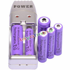 4x AAA 1800mAh + 2x AA Batería recargable de 3000mAh 1.2V púrpura + Cargador USB