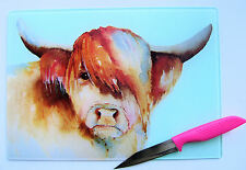 Unique Glass Chopping Board with a *HIGHLAND COW*  design by artist Maria Moss