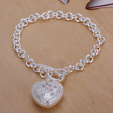 "Unisex Women's 925 Sterling Plated Silver Bracelet Chain 8"" L14"