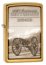 Zippo 150th Anniversary Lone Cannon Gettysburg Battlefield Brushed Brass 28506