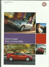 VAUXHALL ASTRA COUPE AND CONVERTIBLE SALES BROCHURE AUGUST 2004 FOR 2005