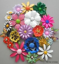 VINTAGE JEWELRY colorful (22)pc FLOWER pin BUTTERFLY brooch LOT *GIFT QUALITY*