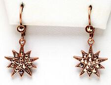 Kirks Folly ASTRAL ROSE GOLD STAR SHIMMER LEVERBACK EARRINGS ~ ant. coppertone