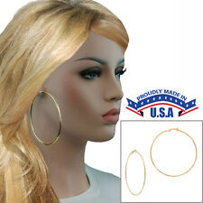 """Large Yellow Gold Tone Plain Wire Clip On Hoop Earrings USA Made 3"""""""